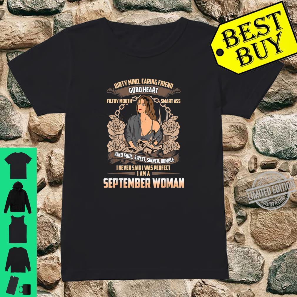 September Birthday Biker Chick Dirty Sweet Sinner Shirt ladies tee