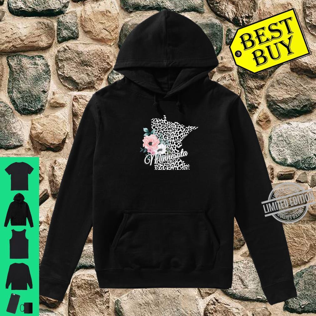 State Of Minnesota Map Leopard Print Watercolor Flowers Shirt hoodie