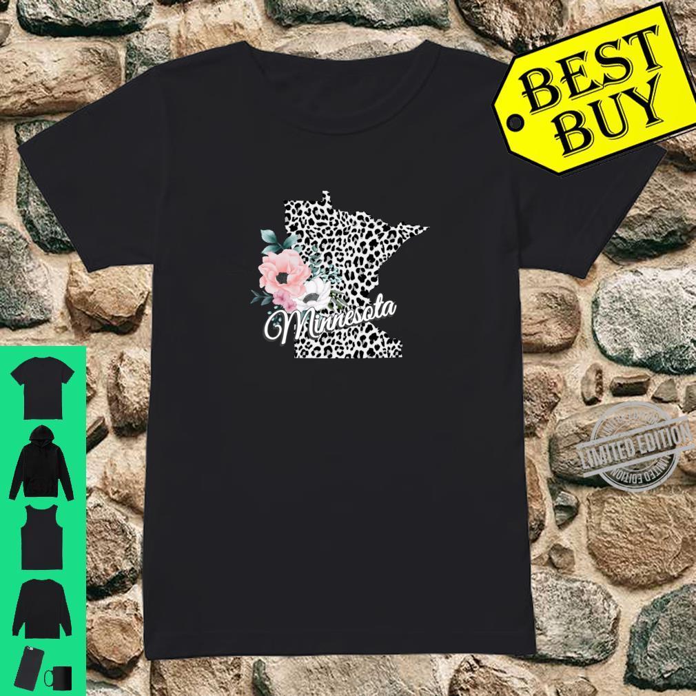 State Of Minnesota Map Leopard Print Watercolor Flowers Shirt ladies tee
