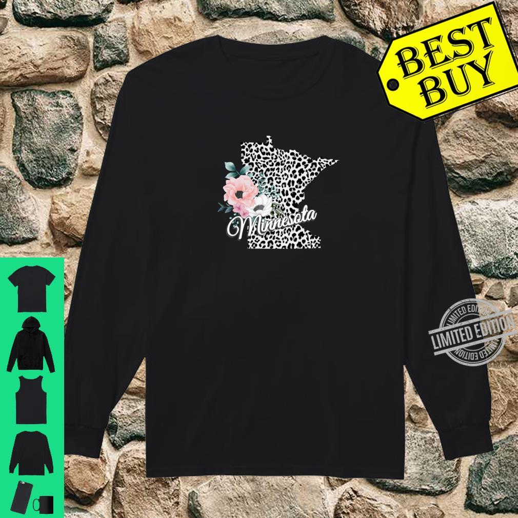 State Of Minnesota Map Leopard Print Watercolor Flowers Shirt long sleeved