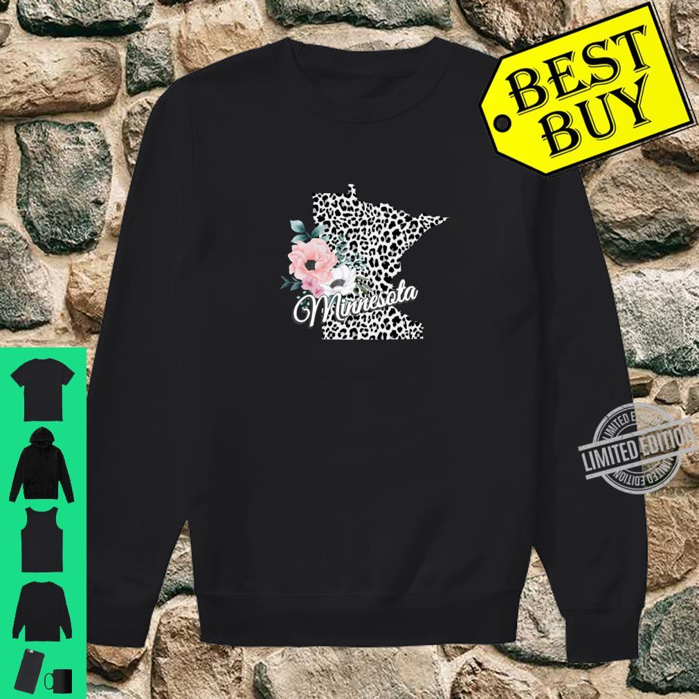 State Of Minnesota Map Leopard Print Watercolor Flowers Shirt sweater